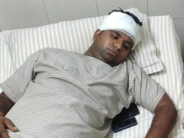 DAV College student Shivam Yadav under treatment in a private hospital in Jalandhar, India on Sunday,