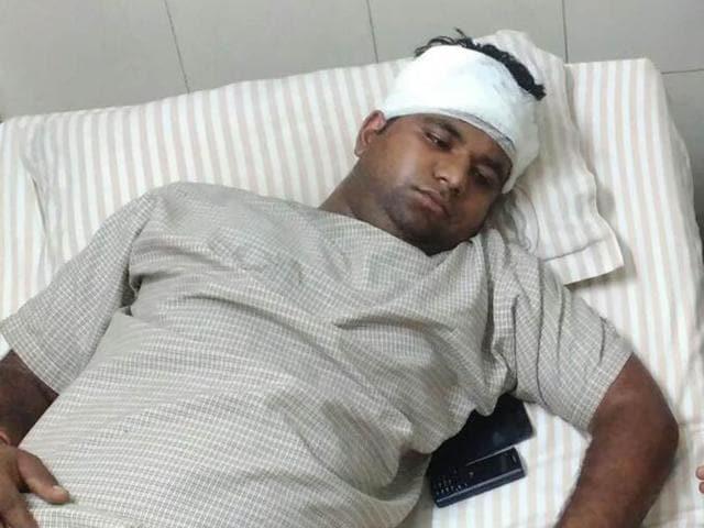 DAV College student Shivam Yadav under treatment in a private hospital in Jalandhar, India on Sunday,