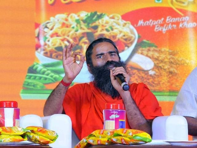 Ramdev launching Patanjali Atta Noodels, in New Delhi on Monday.
