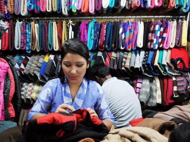 Tibetan woollen wear sellers have set shops in the city, but there are few customers yet as temperatures continue to be quite high in Bhopal.