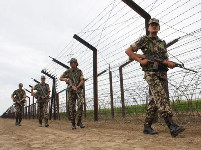 A file photo of BSF's first female battalion soldiers patrolling along with India-Pakistan joint border fencing in Attari sector.