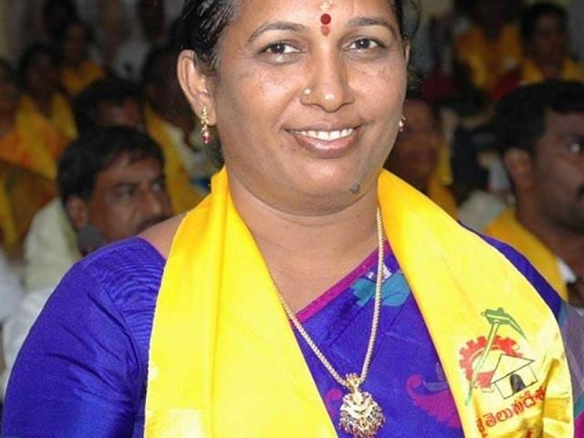 File photo of Chittoor municipal corporation mayor Katari Anuradha who was attacked along with her husband at the town municipal office on Tuesday.