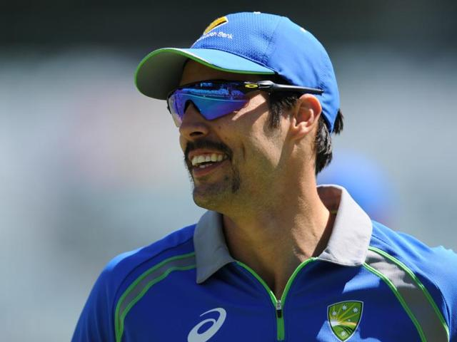 Mitchell Johnson trains prior to the start of the final day of the second Test match between Australia and New Zealand in Perth on November 17, 2015, which will also be the last day of his international cricket career as he announced his retirement from all international cricket.