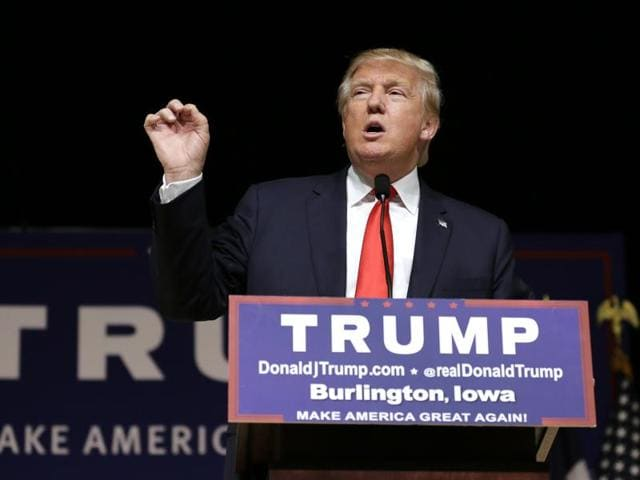 A file photo shows Republican presidential candidate Donald Trump speaking during a campaign in the US.