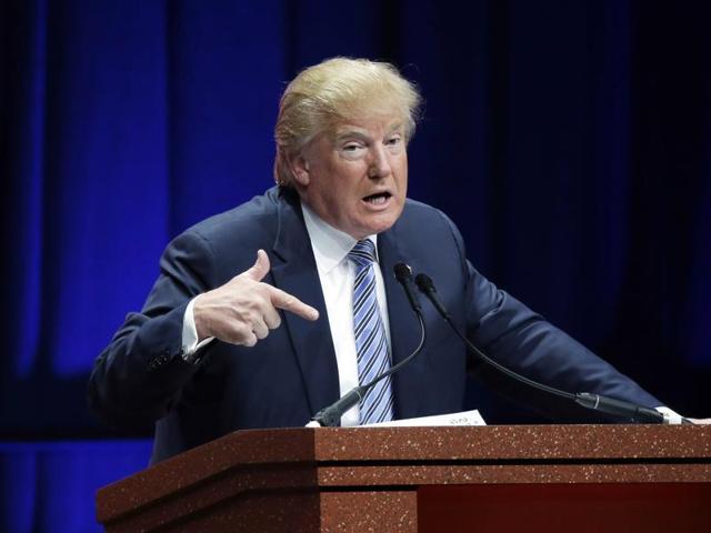 Republican presidential candidate Donald Trump addresses the Sunshine Summit in Orlando.