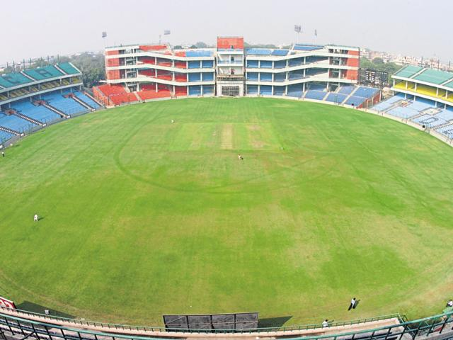 An aerial view of the reconstructed Ferozeshah Kotla in New Delhi.