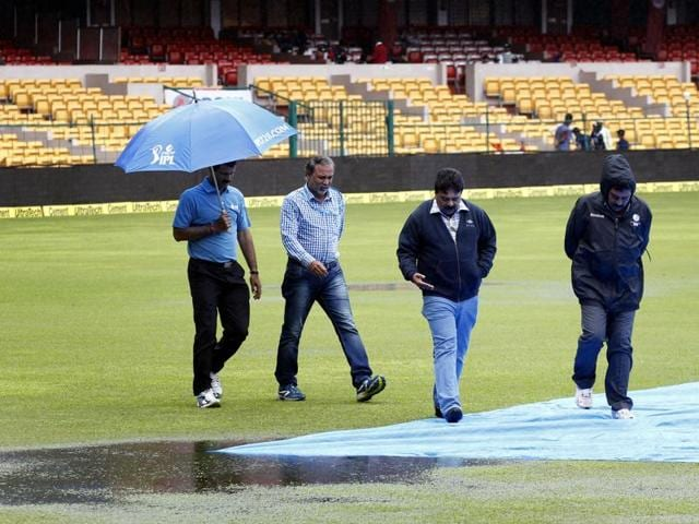 Empty stands at the M Chinnaswamy Stadium as the third day's play was officially called off due to rain during the second Test match between India and South Africa in Bengaluru on November 16, 2015.