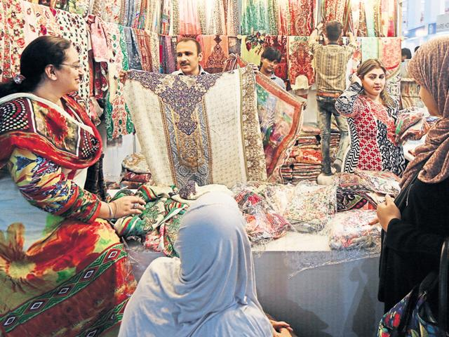 Visitors at the Pakistan pavilion of the ongoing 35th India International Trade Fair at Pragati Maidan in New Delhi on Monday. The fair is on till November 27.