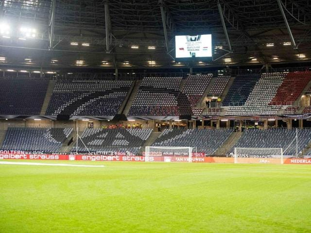 A general view shows the empty HDI Arena stadium in Hanover after a soccer match was called off by police due to a security threat.