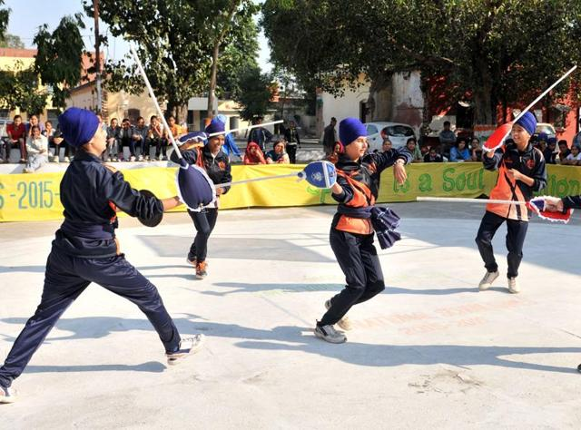 The Punjab gatka team during the 61th National School Games in Jalandhar on Tuesday.