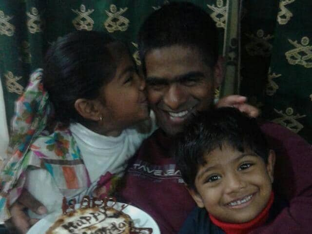 Late Col Mahadik with his kids in Kupwara, celebrating what would be his last birthday.