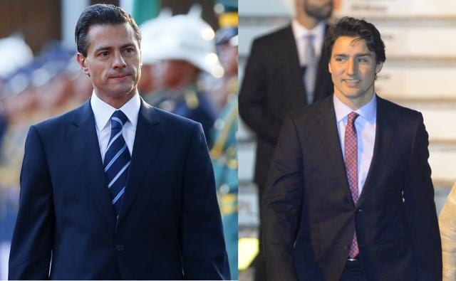 Combination picture of Mexico President Enrique Pena Nieto and Canada's Prime Minister Justin Trudeau as they arrive in Philippines to attend the Asia-Pacific Economic Cooperation (APEC) Summit, in Manila.