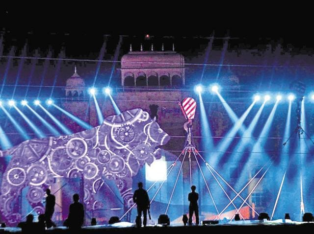 Preparations being made for a laser show at Janpath, opposite the state Assembly, for the Resurgent Rajasthan summit.