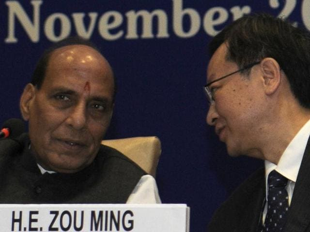 Union home minister Rajnath Singh and HE Zou Ming, vice minister of China, during inaugural session of the Asia Leaders' meeting, in New Delhi.
