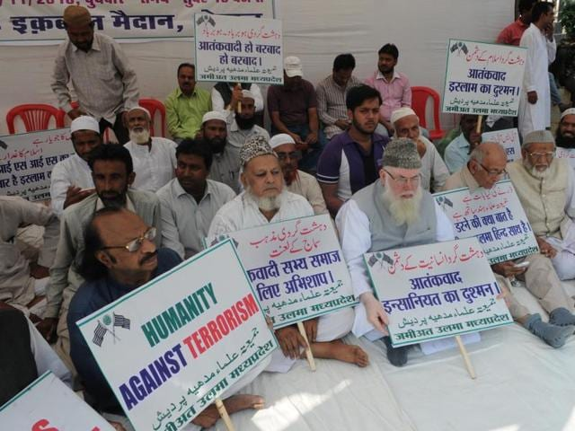 Members of the Muslim community hold protest against the ISIS at Iqbal Maidan in Bhopal on Wednesday.