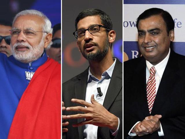 A combination photo of Prime Minister Narendra Modi, Reliance Industries chairman Mukesh Ambani and Google CEO Sundar Pichai.