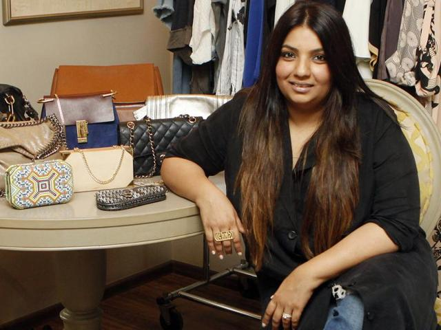 Designer Payal Singhal's living room has been converted into a makeshift closet as we enter her apartment in Khar
