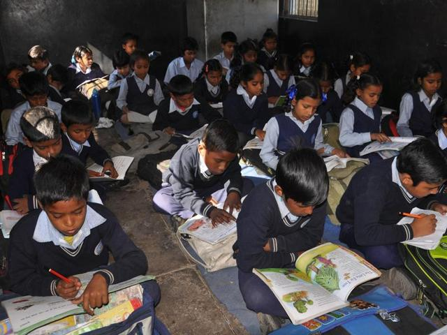 While poor infrastructure forces the students of Government Primary School, Railway Colony, Chandigarh, to sit on the floor, new furniture adorns the school principal office (right).