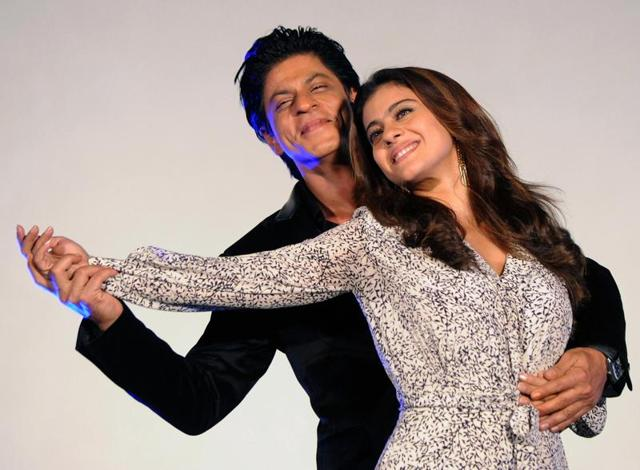 Shah Rukh Khan and Kajol Devgn attend the song launch for the upcoming Hindi film Dilwale in Mumbai.