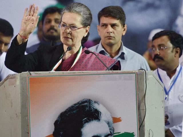 Congress Party president Sonia Gandhi addresses the Youth Congress workers during the National Convention 'Maa Tujhe Salaam' on the occasion of 98th birth anniversary of former prime minister Indira Gandhi at Jawaharlal Nehru Stadium in New Delhi.