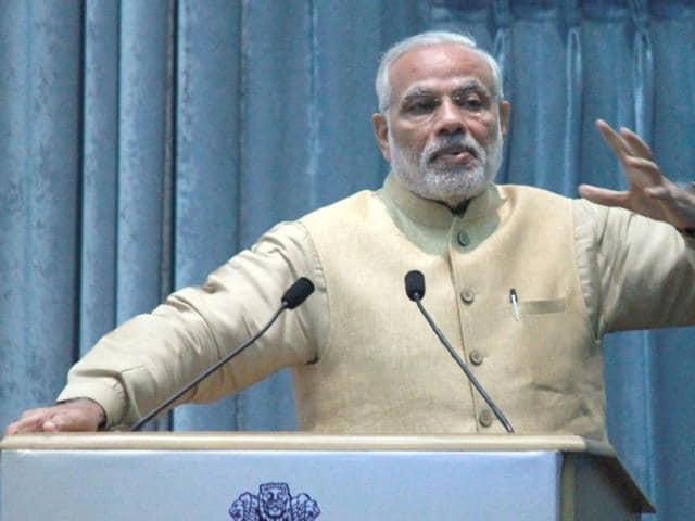 Prime Minister Narendra Modi during an interactive session of assistant secretaries (IAS officers of 2013 batch), in New Delhi.