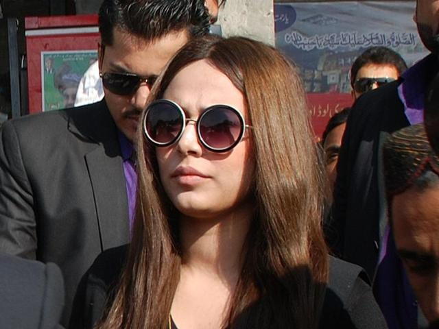 Pakistani model Ayyan Ali arrives at a customs court during a hearing in Rawalpindi on Thursday.