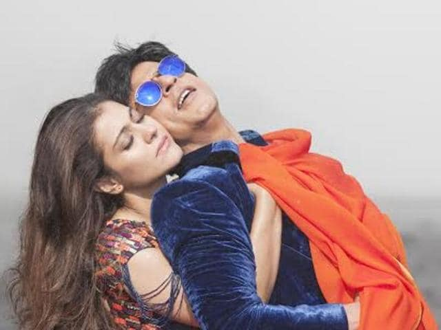 Shah Rukh Khan and Kajol in the romantic song Gerua from Dilwale.