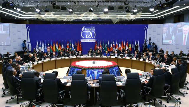 European Union leaders stand in a minute of silence to honour the victims of the attacks in Paris, at the G-20 Summit in Antalya.