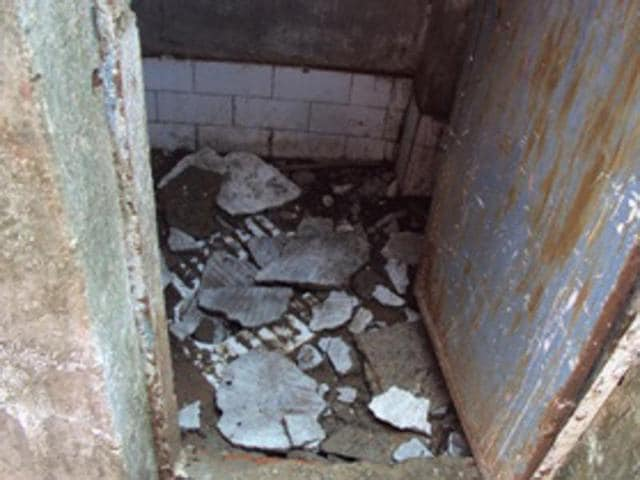Toilets without doors at a government primary school in district Khandwa.