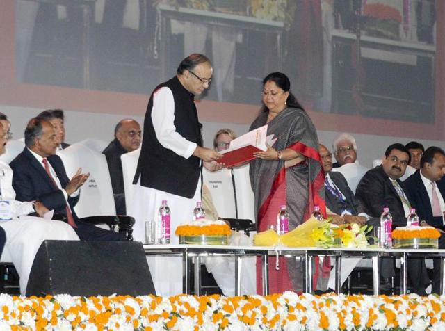 Finance minister Arun Jaitley (left) and Rajashthan chief minister Vasundhara Raje at the opening ceremony of the investor conclave in Jaipur on Thursday.