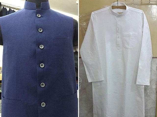 A combination photo of Tejaswi Yadav's designer dress which he has chosen to wear during Nitish Kumar's swearing-in ceremony.