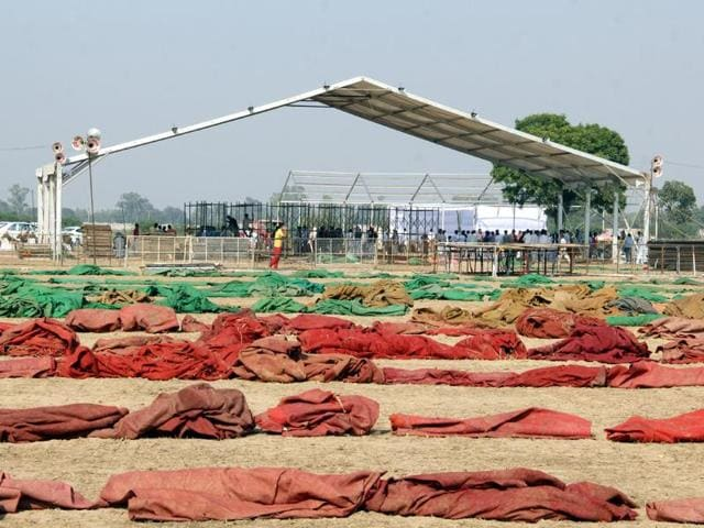 Pillars being erected for a 'pandal' at the SAD rally venue in Bathinda.