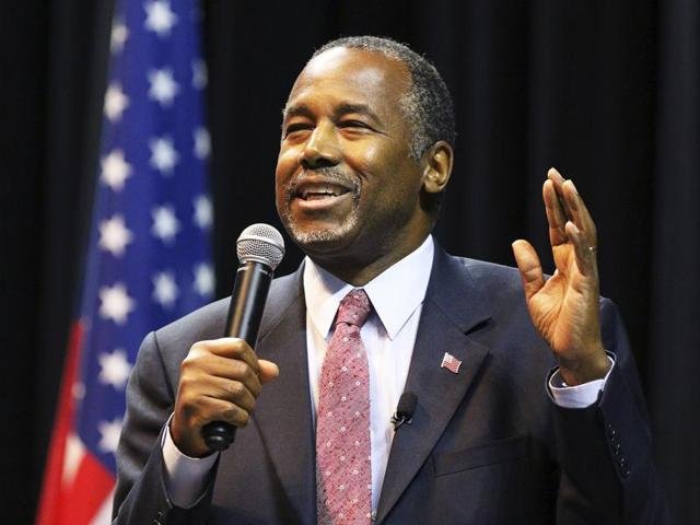 Republican presidential candidate Ben Carson addresses supporters during a campaign stop.