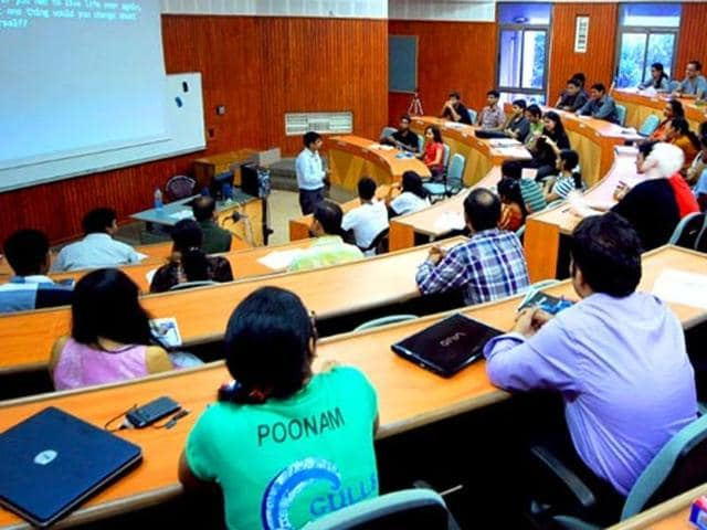 Students attending the class at the Indian Institute of Management, Kolkata in Kolkata, West Bengal.