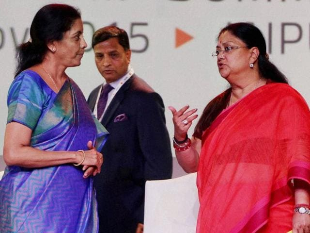Rajasthan chief minister Vasundhara Raje with Union commerce and industry minister Nirmala Sitharaman during the closing ceremony of Resurgent Rajasthan Partnership Summit, in Jaipur on Friday.