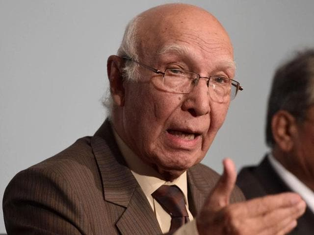 """Pakistan's advisor on foreign affairs Sartaj Aziz said that the country's dossiers on India's alleged involvement in fuelling unrest in Balochistan and Karachi contain no """"material evidence""""."""