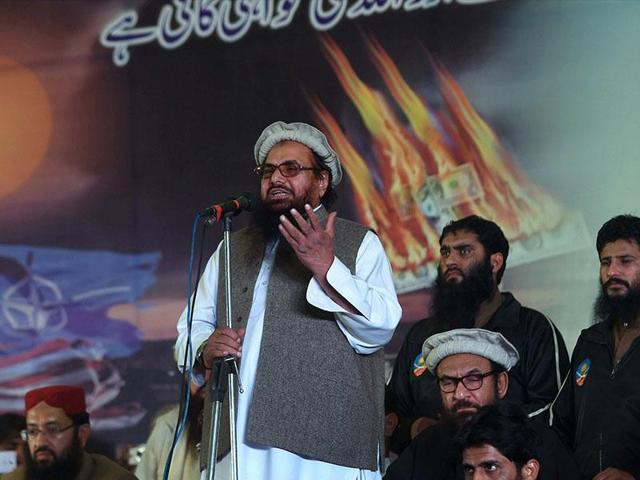 LeT founder Hafiz Saeed  addresses a gathering in Pakistan.  LeT has dubbed Islamic State as a production of anti-Islamic western countries.