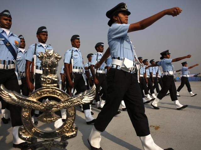 An Indian Air Force woman officer leads a marching contingent during the Indian Air Force Day parade. A 16-member board of officers will assemble at the Dundigal-based premier academy in December to carry out a detailed assessment of the flying capabilities of the 125 cadets there, including 6 women