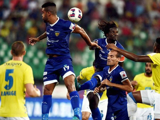 Chennaiyin FC and Kerala Blasters FC players vie for the ball during the ISL match at Jawaharlal Nehru Stadium in Chennai on November 21, 2015.