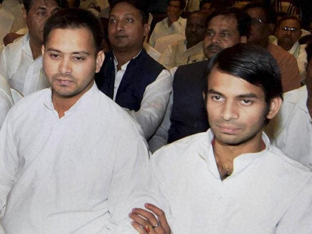 Tej Pratap and Tejashwi Yadav with other RJD MLAs during a meeting in Patna.