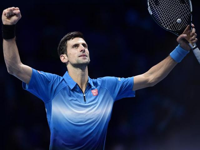 Serbia's Novak Djokovic celebrates victory after his match against Spain's Rafael Nadal at the ATPWorld Tour Finals in London on November 21, 2015.