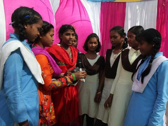 Children from Patalkot participate in an event on Universal Children's Day at Chhindwara on Friday.