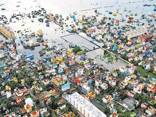 The fallout of climate change: An aerial photo taken on Tuesday shows flooding in Kanchipuram district, on the outskirts of Chennai.