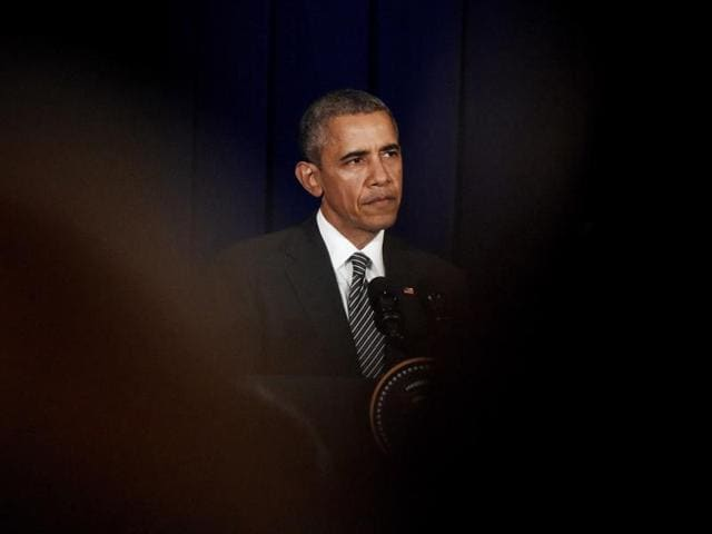 US President Barack Obama attends a press conference in Kuala Lumpur, on the sidelines of the 27th ASEAN Summit.