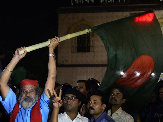 An ambulance carrying the body of Islamist opposition leader Ali Ahsan Mohammad Mujahid comes out of the Dhaka Central Jail after his execution on Sunday.