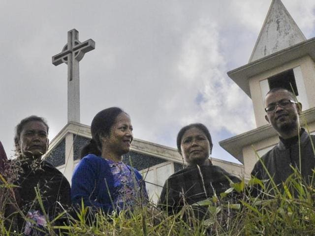 Women theologians and women's wing members of a local church at a presbytery in Shillong.