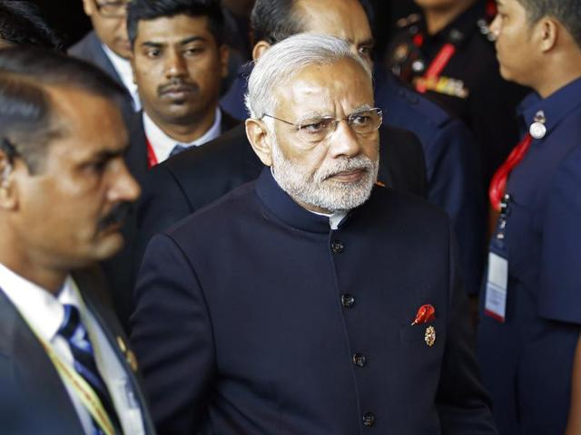 Prime Minister Narendra Modi arrives for the 10th East Asia Summit in Kuala Lumpur, Malaysia.