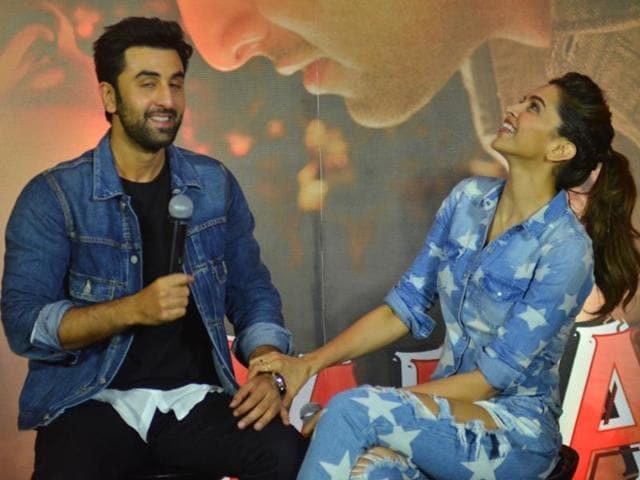 Ranbir Kapoor and Deepika Padukone during the promotion of Tamasha in Mumbai on Nov 18, 2015.