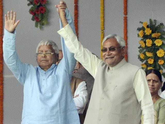 Lalu Yadav and Nitish Kumar during the oath taking ceremony at Gandhi Maidan. Nitish must ensure that his counterpart's style of politics does not dominate Bihar under his watch as CM.