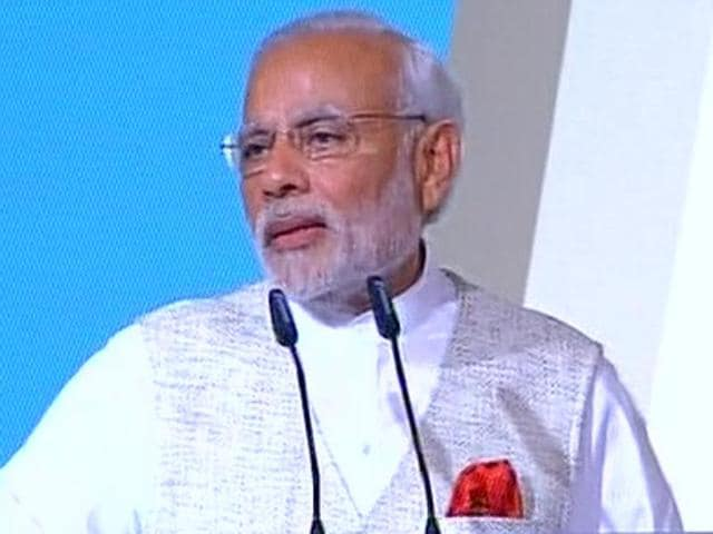 Prime Minister Narendra Modi speaking at the 37th Singapore Lecture.